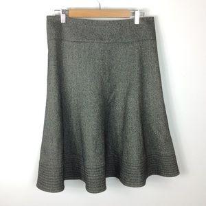 Zara Basic Gray Stitched Hem Drape Skirt Size M